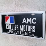 One of the original promotional license plates from Collier Motors AMC